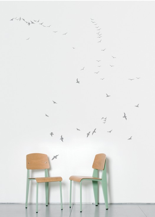 Flock of gulls silver