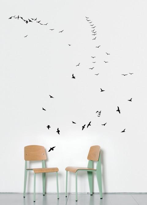 Flock of gulls black